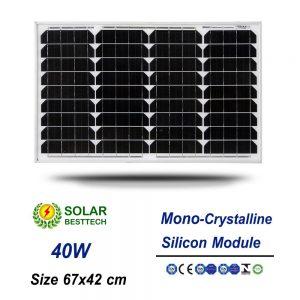 แผงโซล่าเซลล์ Solar Panel Mono Crystalline 40W
